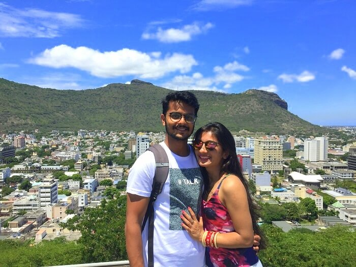Malay and his wife click a picture in Port Louis