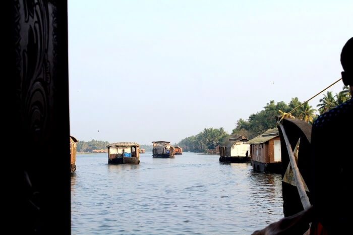 going through the backwaters in kerala
