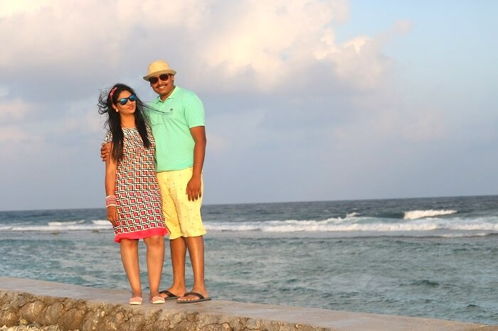 Couple sightseeing in Maldives