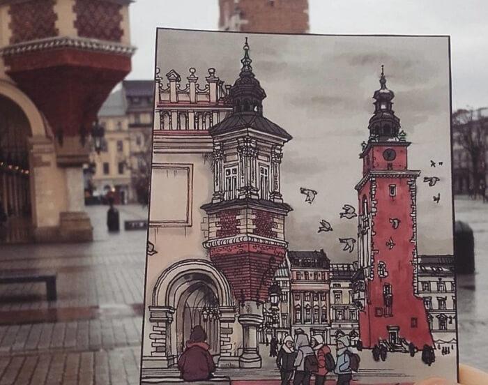 Post card sketch of Krakow