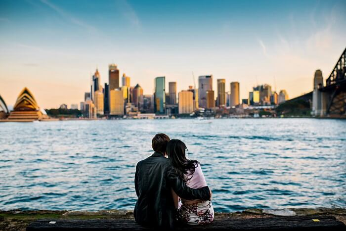 Honeymoon couple at the Rocks in Sydney