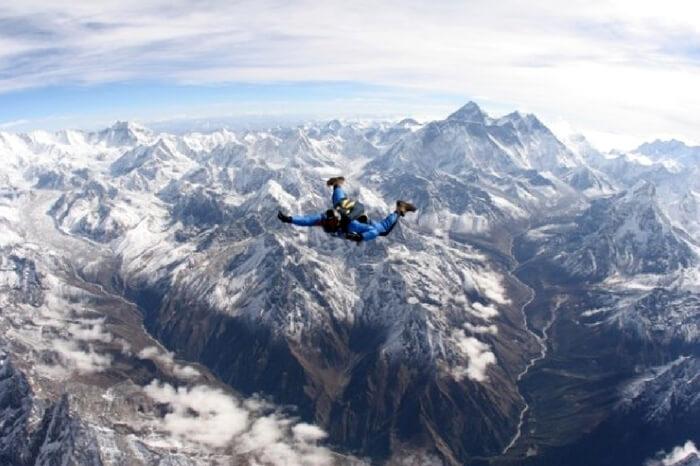 Skydiver enjoying the freefall over Lake Wanaka in New Zealand