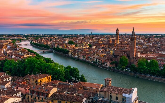 View of Verona during sunset