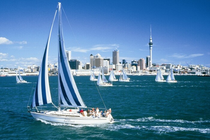 Tourists take a ride in a yacht in Auckland
