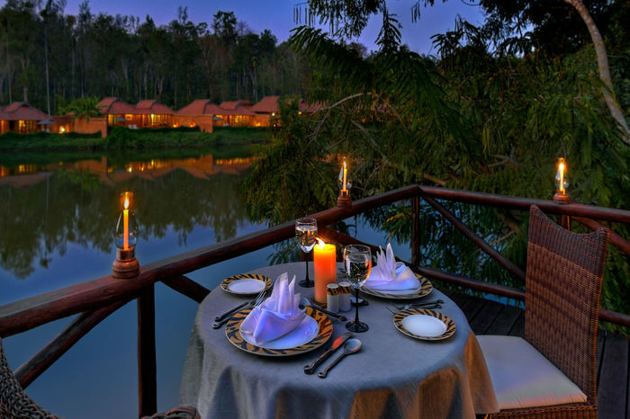 candlelit dinner near lake