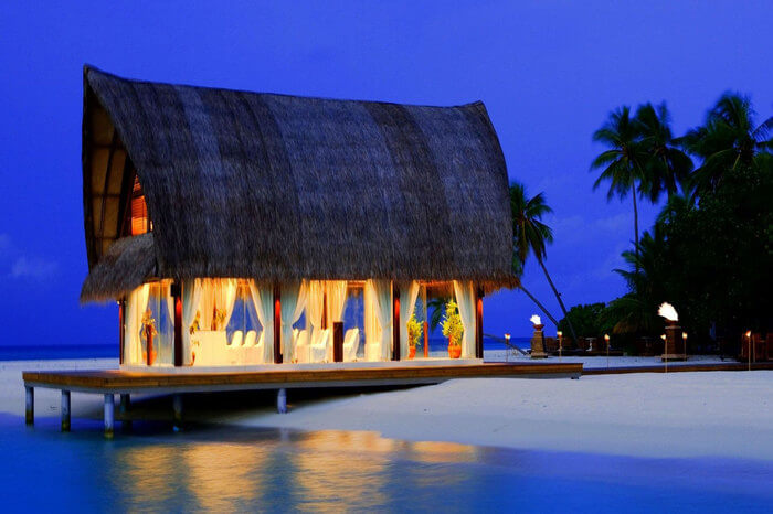 a romantic dinner in a shack on beach of goa