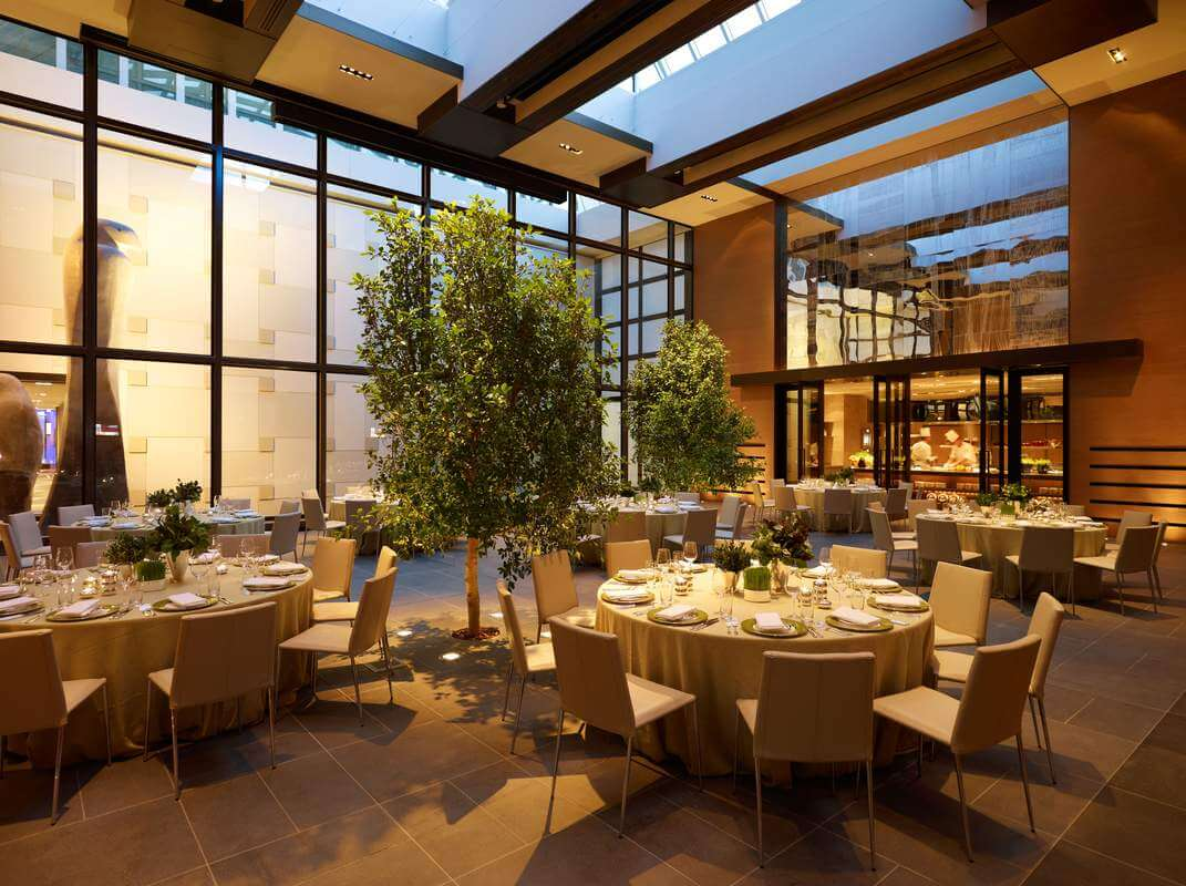 dining tables and indoor plant at grand hayatt, grand hayatt restaurant