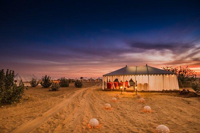 A night shot at the Joggan desert camp in Jaisalmer