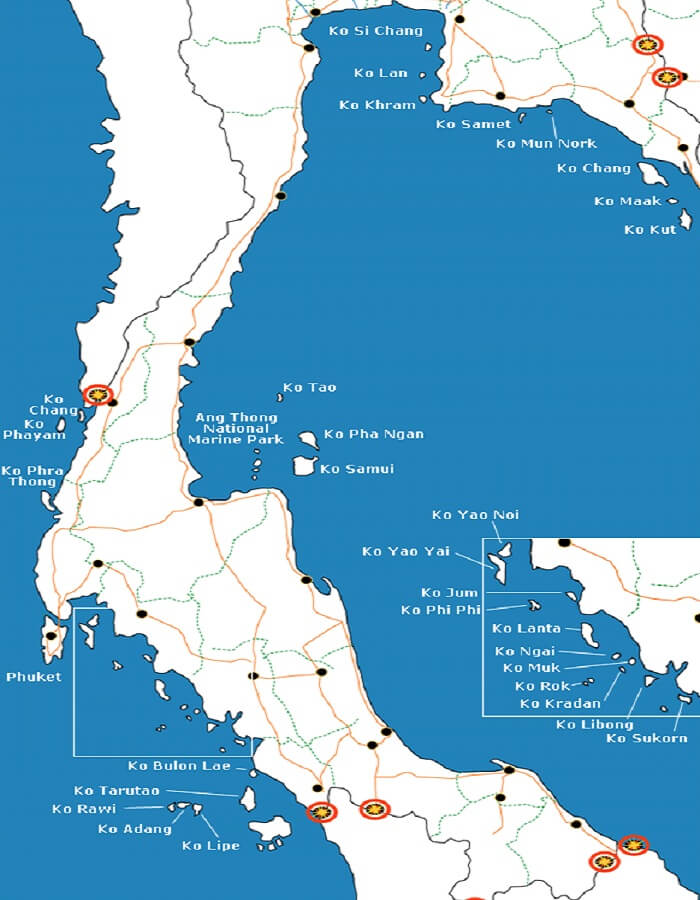 A map of the islands in Thailand