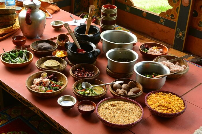 Bhutanese raw food on a table