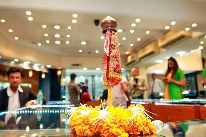shop decorated for Gudi Padwa festival