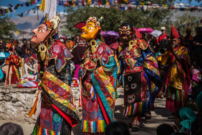 Ladakhi people dressed in colourful traditional dresses