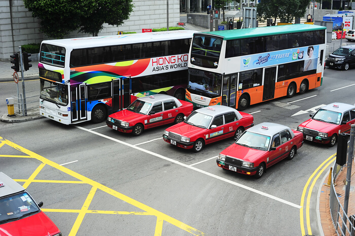 Transfer cabs and buses at Hong Kong airport