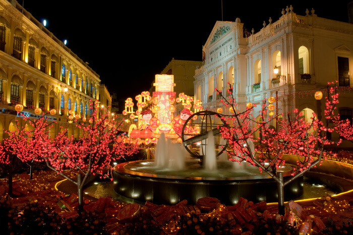 Senado Square decorated with artificial trees and lights