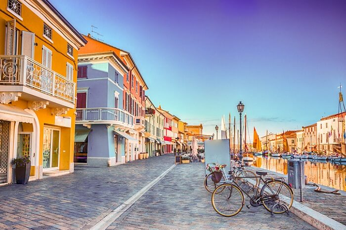Ancient houses on Leonardesque Canal Port in Cesenatico in Emilia Romagna in Italy