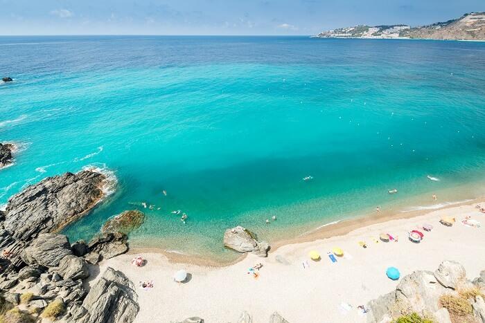 An aerial view of a mediterranean spanish beach (San Cristobal beach) at Almunecar (Granada) in Spain