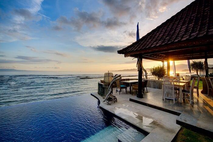 Sunset over Balinese coastline