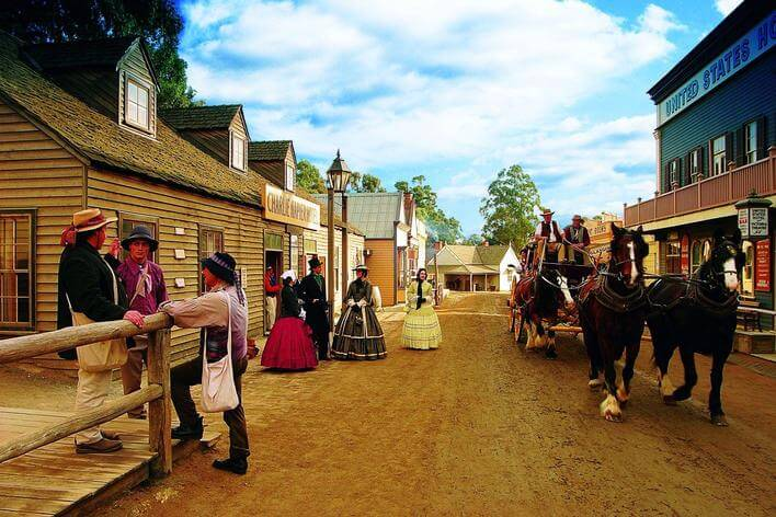 women dressed in vintage dresses at Sovereign hill museum