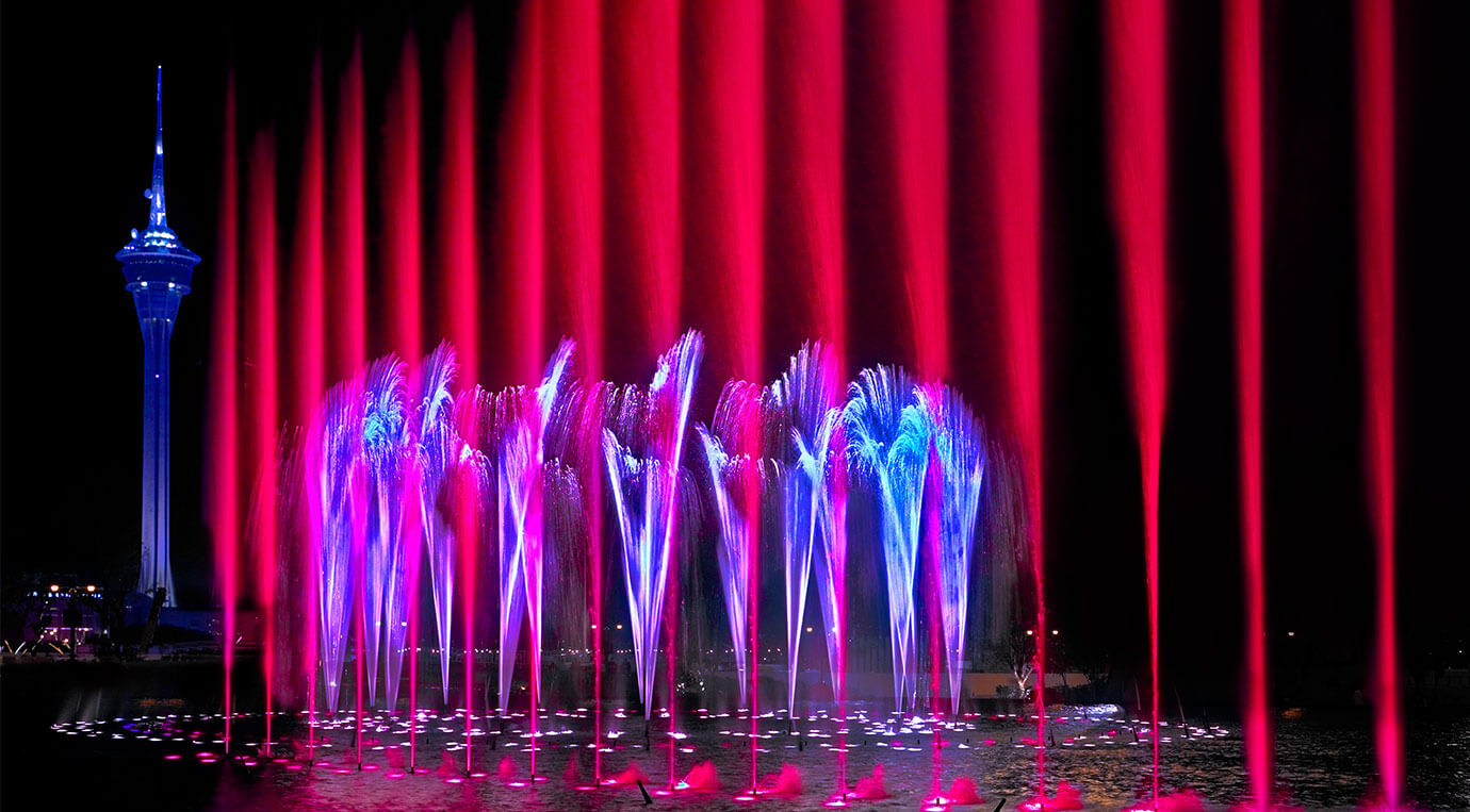 Blue and red light fountain show