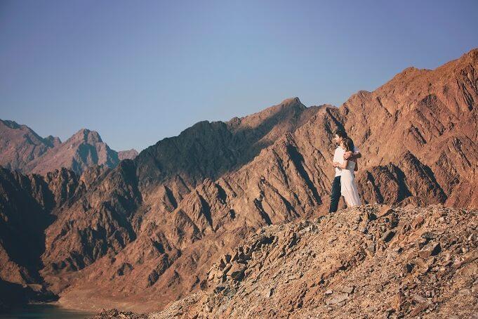 Couple at Hatta Mountains, Dubai