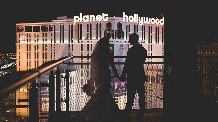 Romantic couple at Planet Hollywood Las Vegas