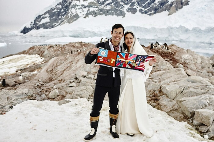 Romantic couple getting married in Antarctica