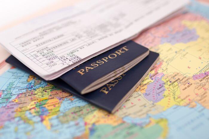 Passport and a world map