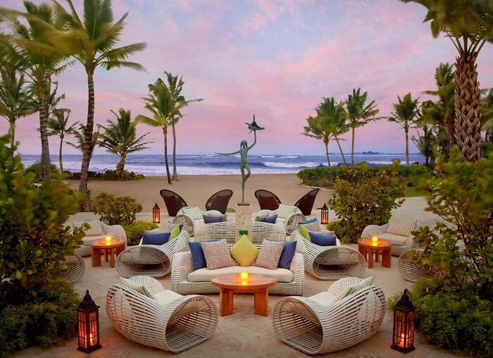 Private outdoor seating for honeymoon