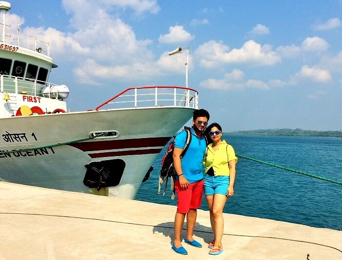 Couple enjoying catamaran cruise in Andaman