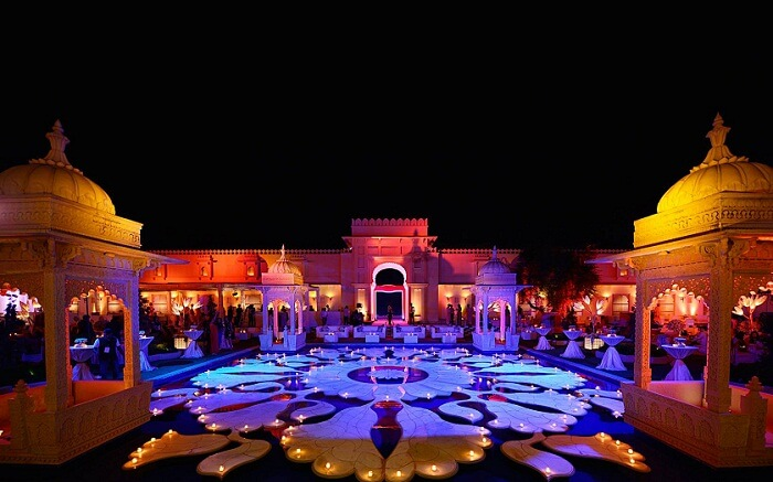A wedding going on at Oberoi Udaivilas in Udaipur