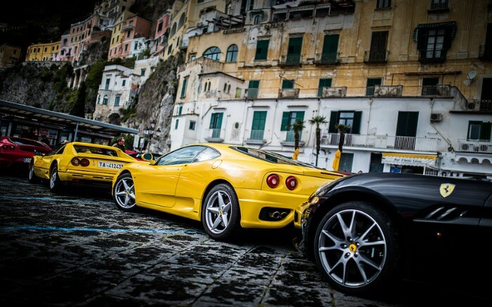 Luxury cars parked