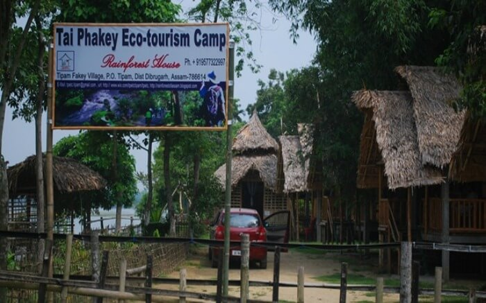 An ecotourism camp set up for responsible travelers in Assam