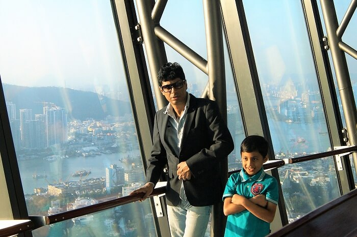 Sudip and his son at the macau tower