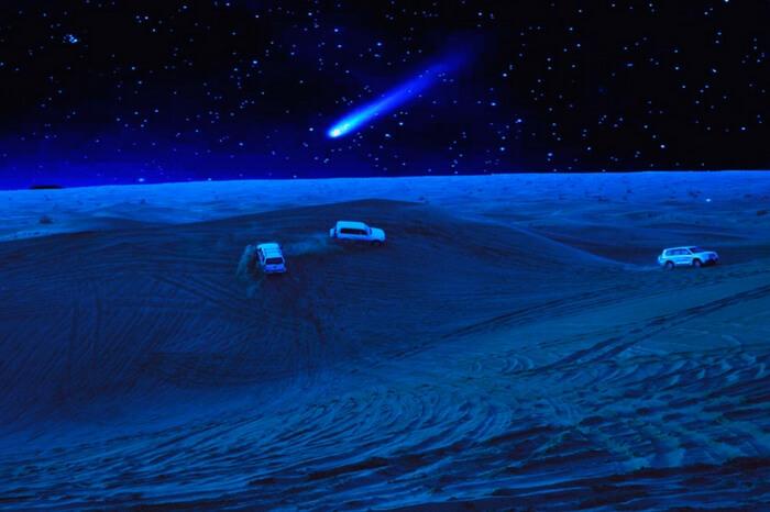 Night safari in range rover in Arabian desert in Dubai
