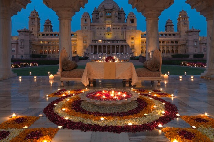 Dining for the wedded couple at Umaid Bhawan in Jodhpur