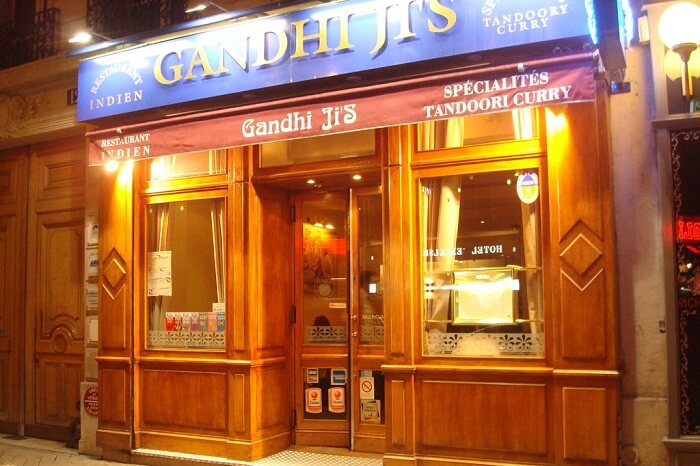 Entrance of Gandhi Ji restaurant that is one of the Indian restaurants near Eiffel Tower in Paris