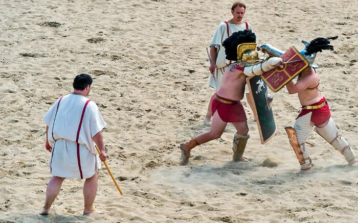 People getting trained in Gladiator Training School in Rome -This is one of the best things to do in Italy