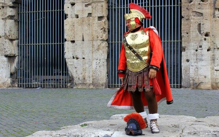 A person in Roman army uniform