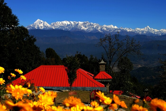 Lush green valley overlooking Himalayas in Kausani