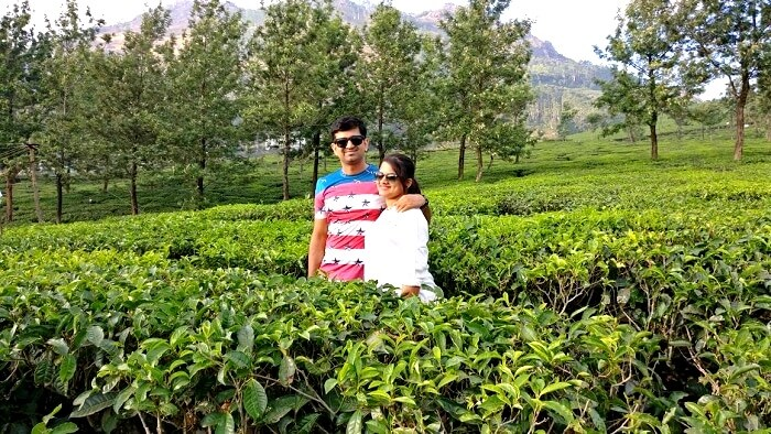 Couple in Kerala tea gardens