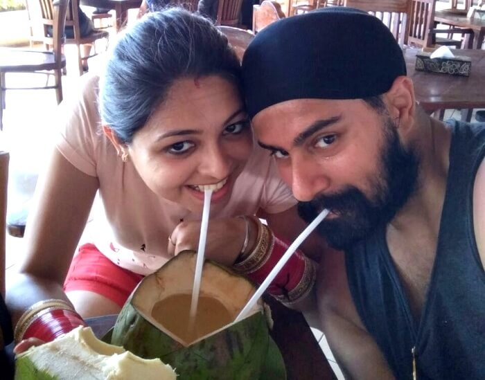 sipping on a refreshing coconut in Bali