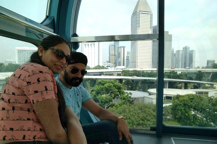 taking a ride of the singapore flyer