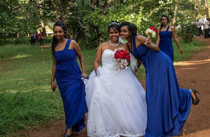 Girls in wedding dress