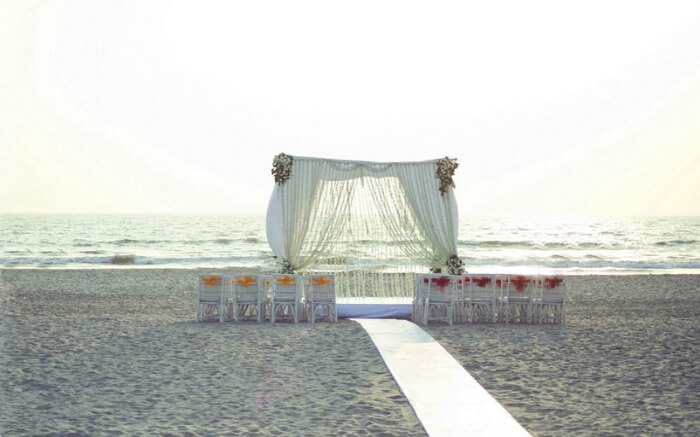 Wedding decor beside the sea in Marbela Beach Resort