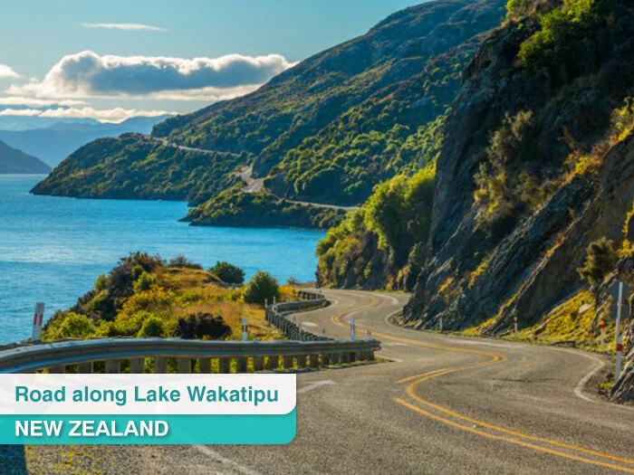 Road along Lake Wakatipu in New Zealand