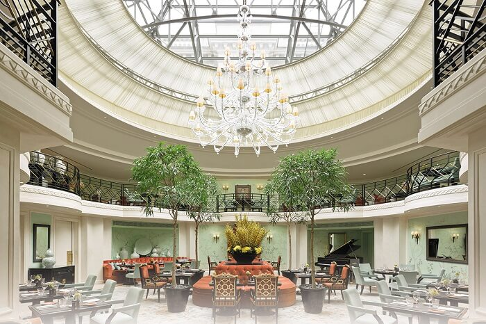 The chic interiors of L-Abeille restaurant of Shangri-La Hotel near Eiffel Tower in Paris