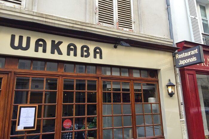 The entrance of the Wakaba Japanese restaurant near Eiffel tower in Paris
