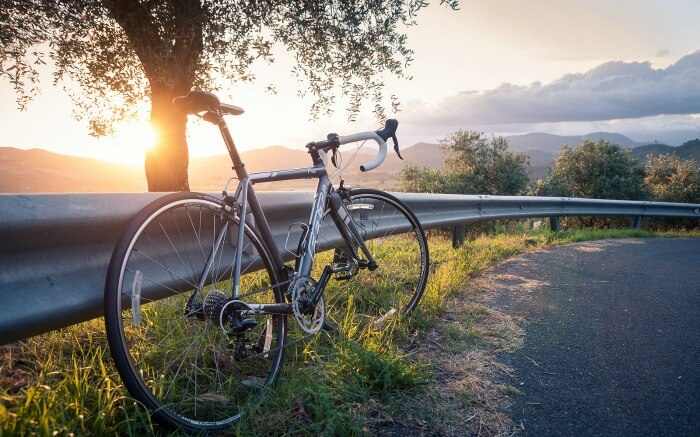 A bicycle with scenic view of Tuscany