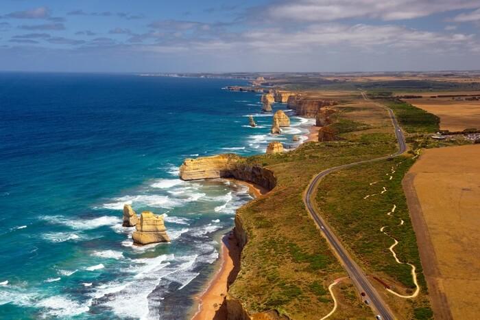 Top view of 12 Apostles by Great Ocean Road in Melbourne in Australia