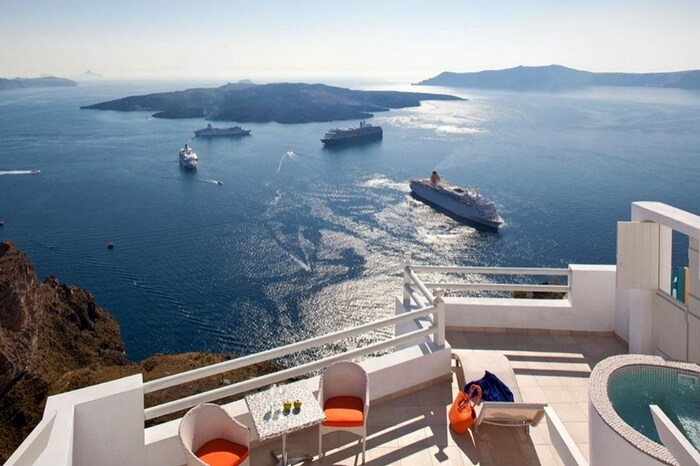 Sea view from the terrace of Adamant Suites in Santorini in Greece